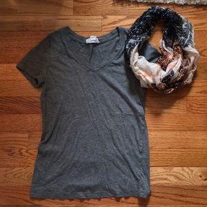 Gray shirt w/ scarf